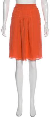 Burberry Ruched-Accent Knee-Length Skirt