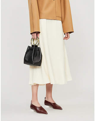 Theory Flared-hem high-waist crepe skirt