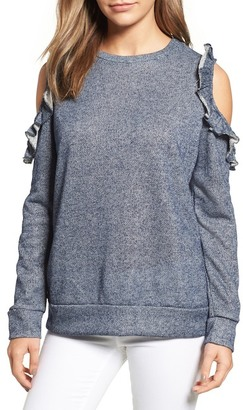Caslon Ruffle Trim Cold Shoulder Sweatshirt (Regular & Petite) $59 thestylecure.com