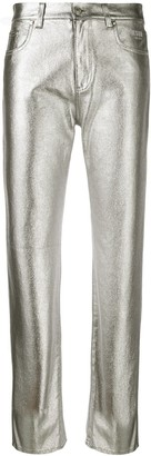 MSGM metallic finish coated jeans