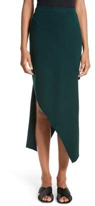 Rosetta Getty Reversible Asymmetrical Knit Midi Skirt