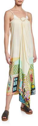 Verandah Printed Tie-Front Coverup Maxi Skirt