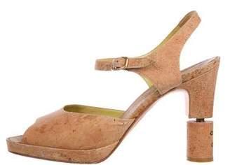 Chanel Cork Ankle Strap Sandals