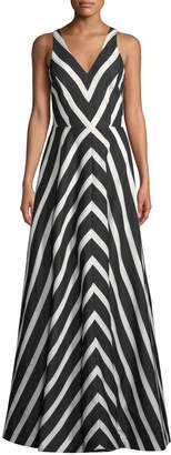 Halston Chevron-Striped Sleeveless V-Neck Gown