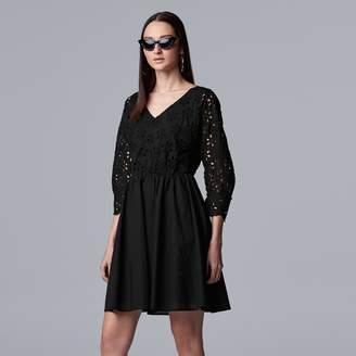 Vera Wang Women's Simply Vera Eyelet Lace Dress