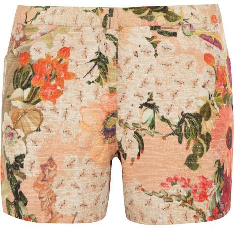 Tory Burch Edith floral-print slub-faille shorts