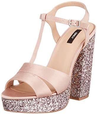 Only Women s Onlallie Satin Heeled Glitter Sandal Open Toe Rose Pink f59d5e156fd