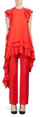 Alexander McQueen Pleated Ruffle Hi-Lo Top