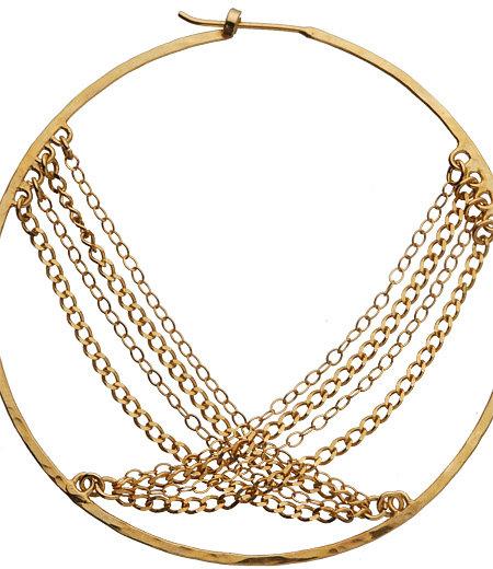 Presh Large Gold Chain Hoop Earrings