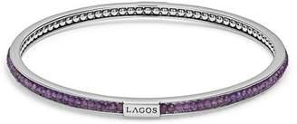 Lagos Sterling Silver Caviar Icon Amethyst Beaded Bangle Bracelet