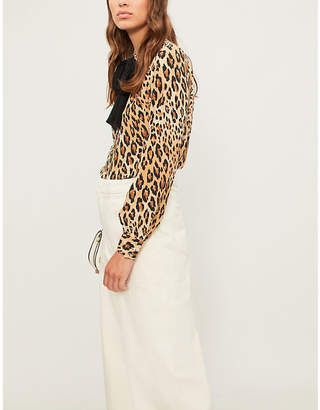 Frame Pussy bow leopard-print silk-crepe shirt