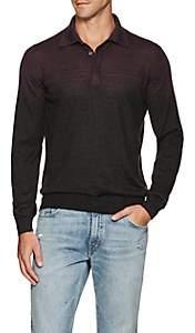 Fioroni Men's Gradient-Striped Cashmere-Silk Polo Shirt - Purple