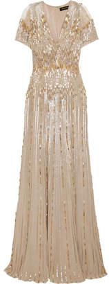 Jenny Packham Tulle-paneled Embellished Silk Gown