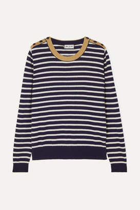 Paul & Joe Le Bosc Metallic Striped Cotton-blend Sweater - Navy