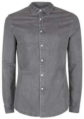 Topman Mens Grey Gray Muscle Fit Denim Shirt