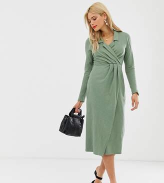 Asos Tall DESIGN Tall midi wrap front shirt dress in slub