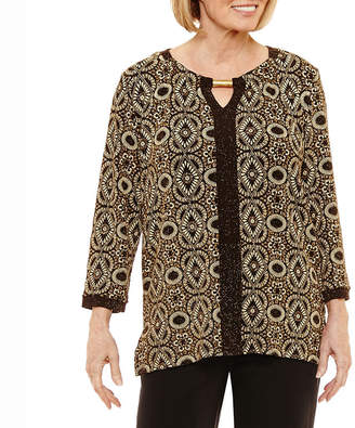 Alfred Dunner Deck The Halls 3/4 Sleeve Keyhole Neck T-Shirt-Womens
