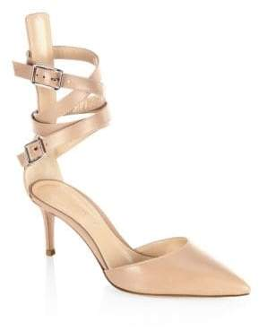 Gianvito Rossi Leather d'Orsay Ankle-Strap Pumps