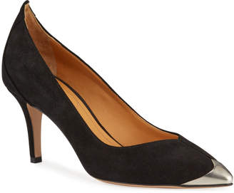 Isabel Marant Pavis Suede Metal-Toe Pumps
