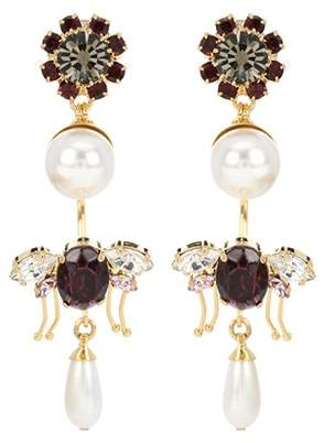 Erdem Crystal-embellished clip-on earrings