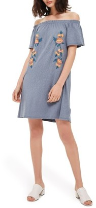 Women's Topshop Embroidered Off The Shoulder Dress $50 thestylecure.com
