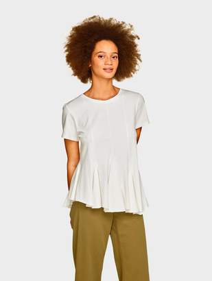 White + Warren Luxurious Women's Cashmere Sweaters & Travel Wraps Compact Cotton Swing Hem Tee