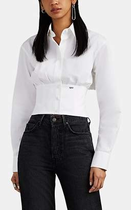 Off-White Off - White c/o Virgil Abloh Women's Cotton Faille Crop Corset Shirt - White