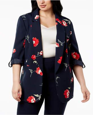 Nine West Plus Size Floral-Print Blazer