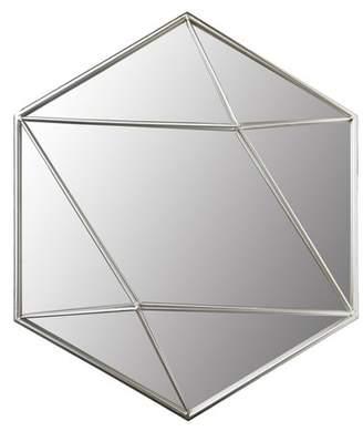 """Patton Wall Decor 24"""" Silver Metal Hexagon Wall Accent Mirror"""