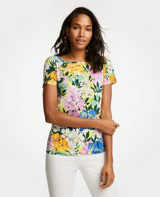 Ann Taylor Petite Floral Puff Sleeve Pima Cotton Tee