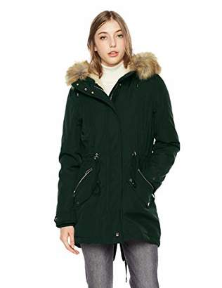 Royal Matrix Women's Mid-Length Detachable Faux Fur Winter Parka Jacket with Ribbing (