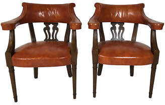 One Kings Lane Vintage Hickory Leather Library Chairs - Pr. - Von Meyer Ltd.