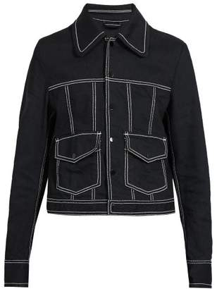 Maison Margiela Topstitched Stretch Denim Jacket - Mens - Black