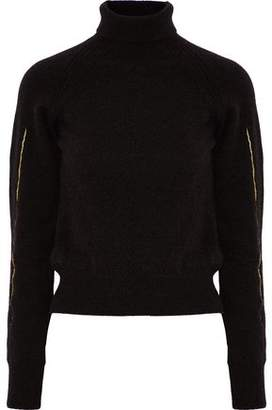 Haider Ackermann Metallic Embroidered Knitted Turtleneck Sweater
