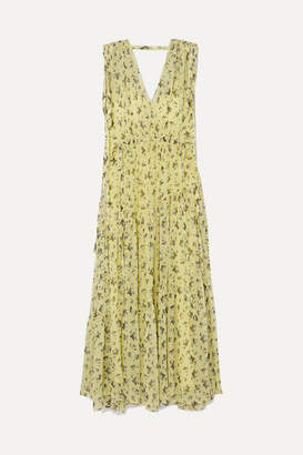 Lee Mathews - Clementine Ruched Tiered Floral-print Silk-georgette Maxi Dress - Yellow