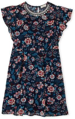 Monteau Girl (Girls 7-16) Embellished Neck Floral Dress