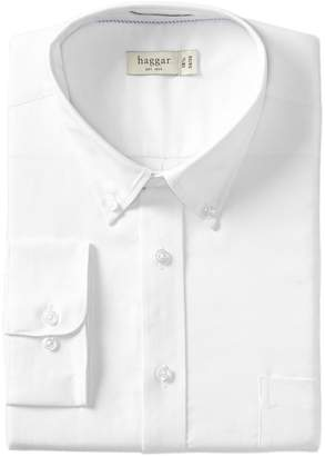Haggar Men's Regular Fit Pinpoint Oxford Solid Long Sleeve Dress Shirt