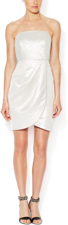 Shoshanna Ella Metallic Cotton Strapless Dress