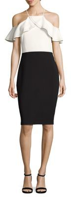 Laundry by Shelli Segal Colorblock Cold-Shoulder Sheath Dress $195 thestylecure.com