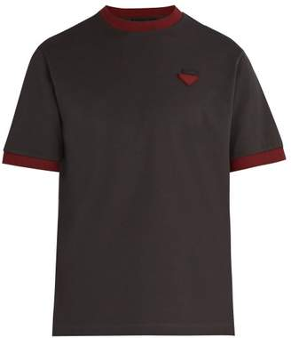 Prada Logo AppliquA Cotton PiquA T Shirt - Mens - Dark Grey