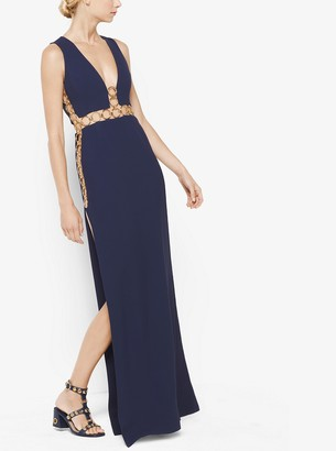 Michael Kors Ring-Detailed Double-Face Crepe Sable Gown