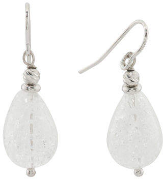 Made In Italy Sterling Silver Crystal Drop Earrings