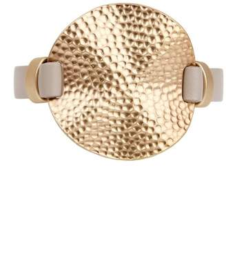 Saachi Taupe Hammered Genuine Leather Watch Bracelet