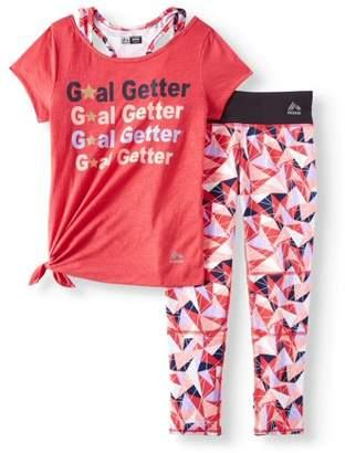 RBX Performance 2Fer Side Tie Top & Legging, 2-Piece Set (Little and Big Girls)