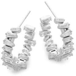 Crystal & Silver Hoop Earrings