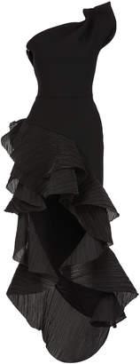 Maticevski Flamenco Ruffled Asymmetric Midi Dress