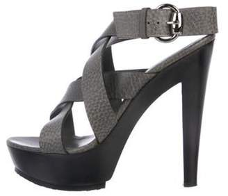 Gucci Leather Multistrap Sandals Grey Leather Multistrap Sandals