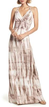 Felicity & Coco Shafter Tie Dye Jersey Halter Maxi Dress
