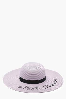 boohoo Hello Summer Slogan Straw Floppy Hat