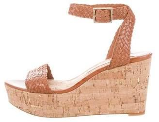 Diane von Furstenberg Woven Leather Ankle Strap Wedges